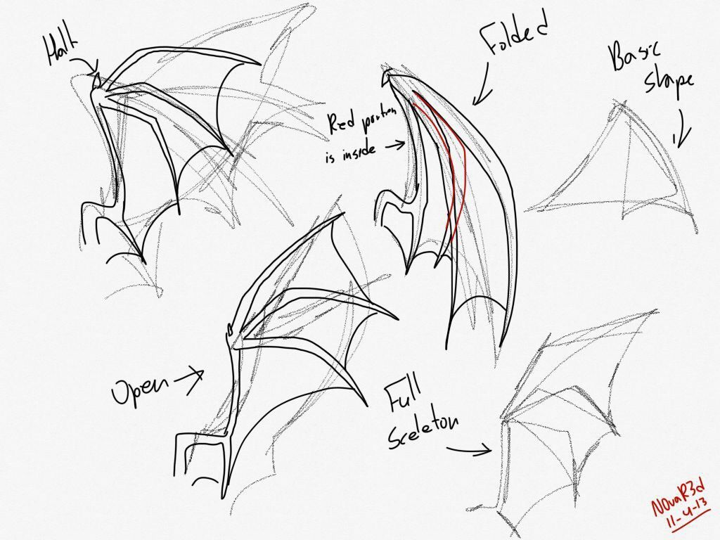how to draw dragon wings easy