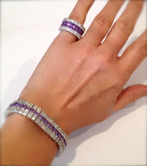 Vintage Purple Sapphire and Diamond Estate Jewelry Bracelet by WOWTHATSBEAUTIFUL