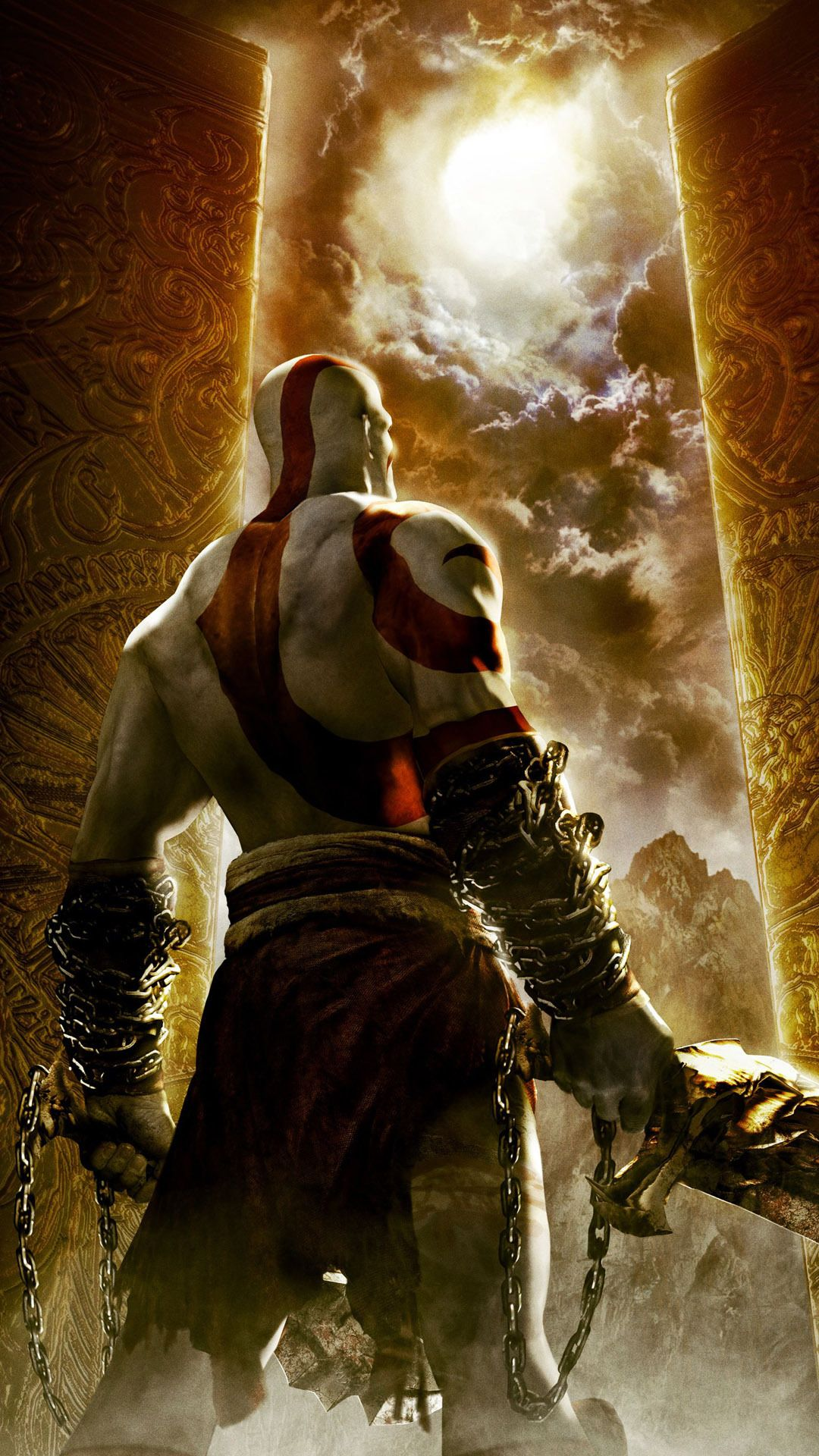 Download Wallpaper 1080x1920 Kratos God Of War Face Eyes Scar