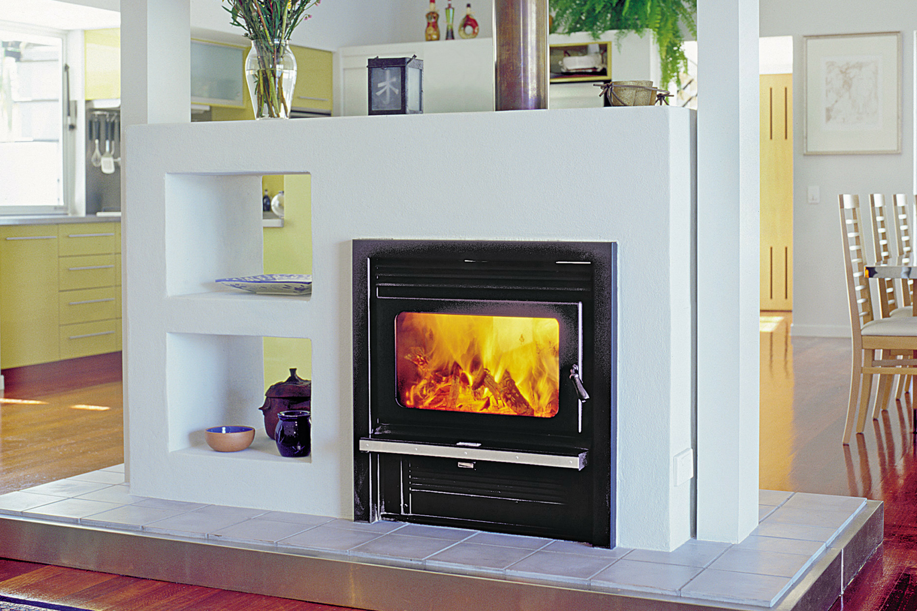 kemlan coupe wall penetration inbuilt wood burning fireplace