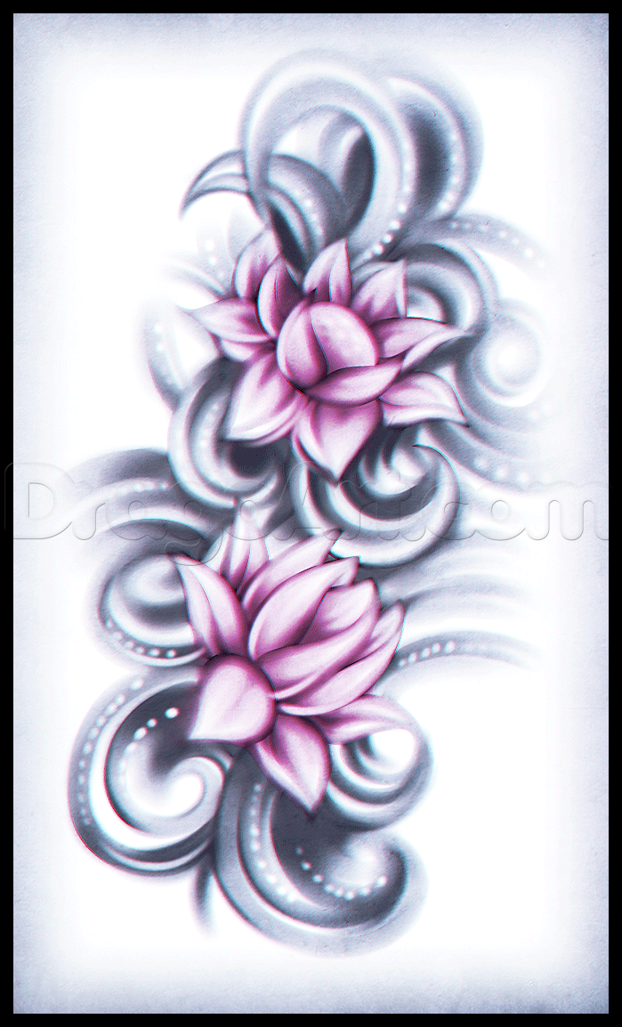 How To Draw A Lotus Flower Tattoo