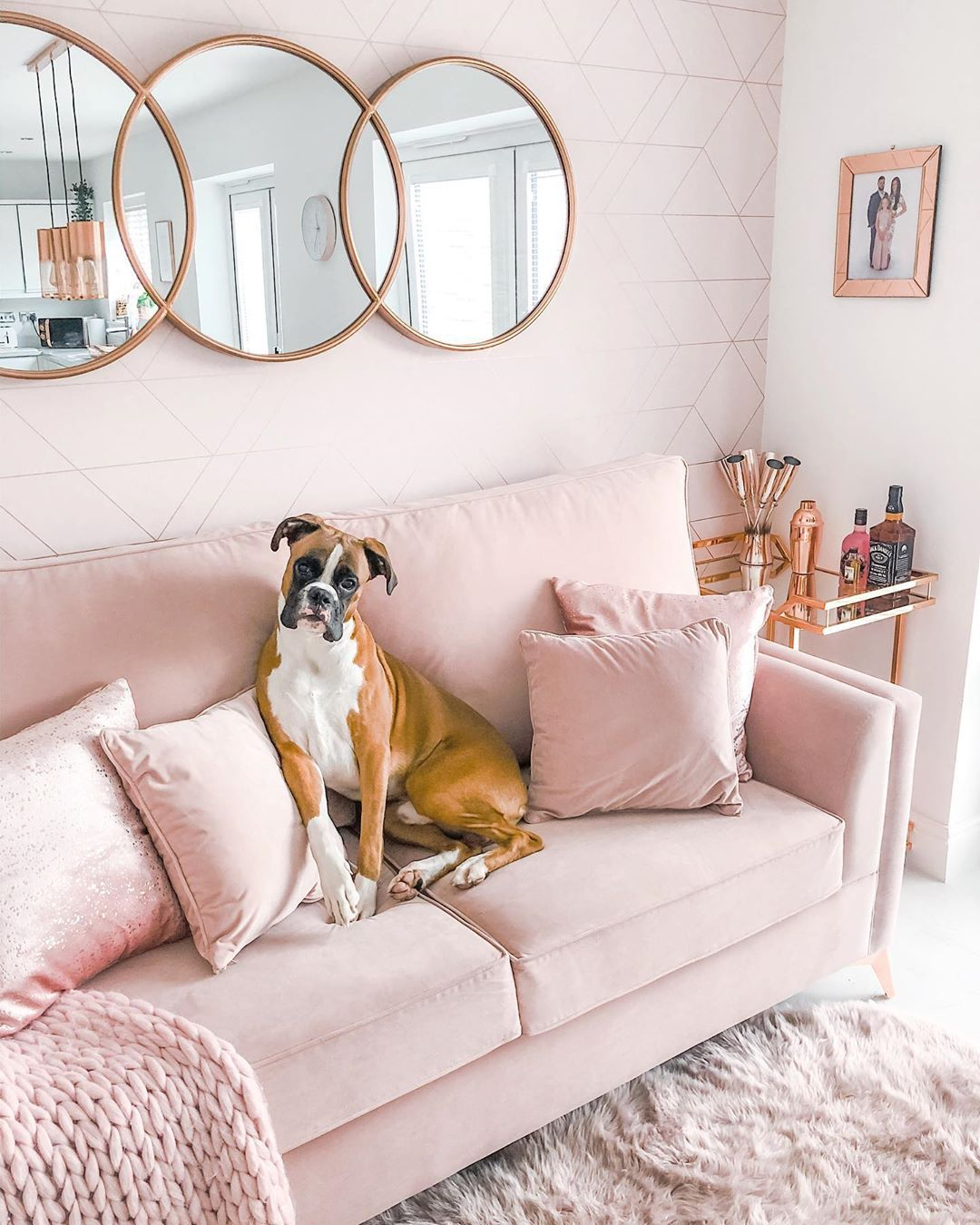 Featuring a blush backdrop highlighted with clean angular