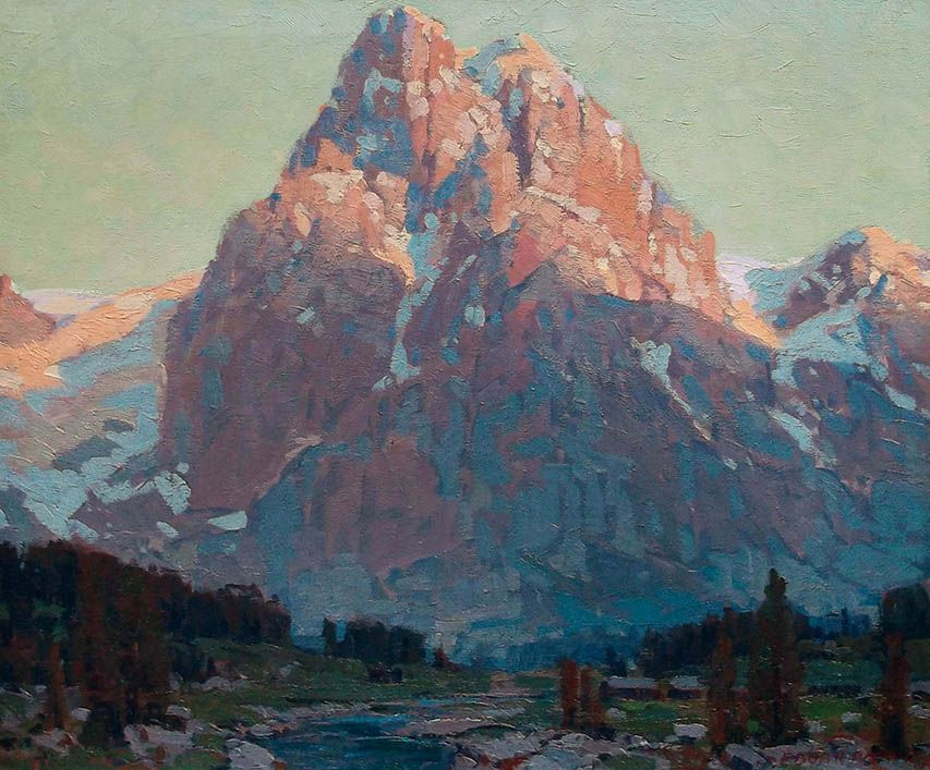 """Edgar Payne (1883-1947) """"Sunlit Peak"""" 24 x 28, Oil on canvas. The Crocker Art Museum's Chief Curator and Associate Director, Scott Shields, describes Payne's works as """"imbued with an internal force and active dynamism achieved through majestic, vital landscape subjects""""."""