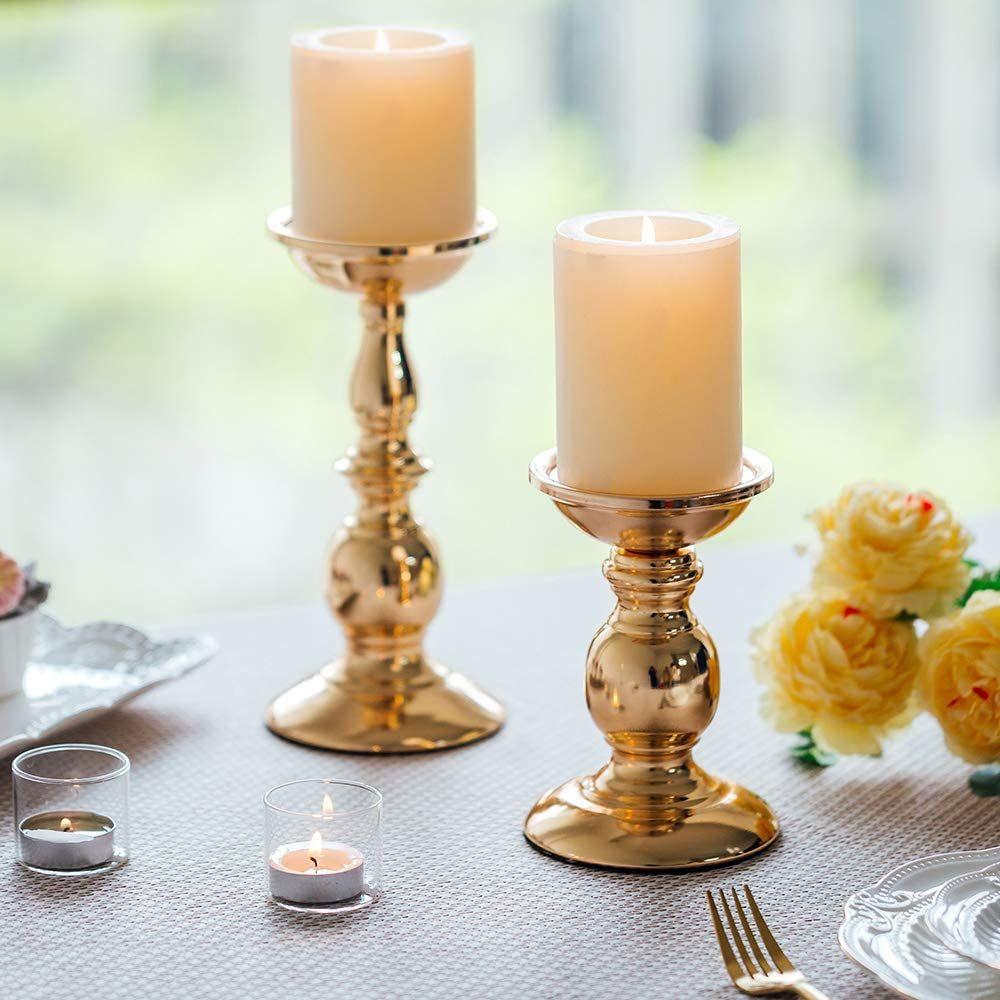 Dekorativer Kerzenhalter Rose mit  Stabkerze.