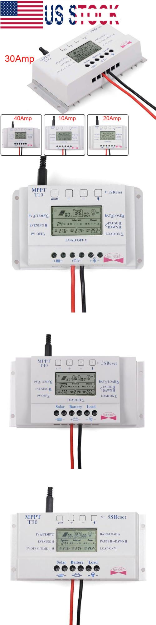 Chargers And Inverters 41980 10 20 30 40 Amp Solar Charge Controller Mppt 12 24v Three Time Timer With Usb Up Buy It N Time Timer Photovoltaic System Timer