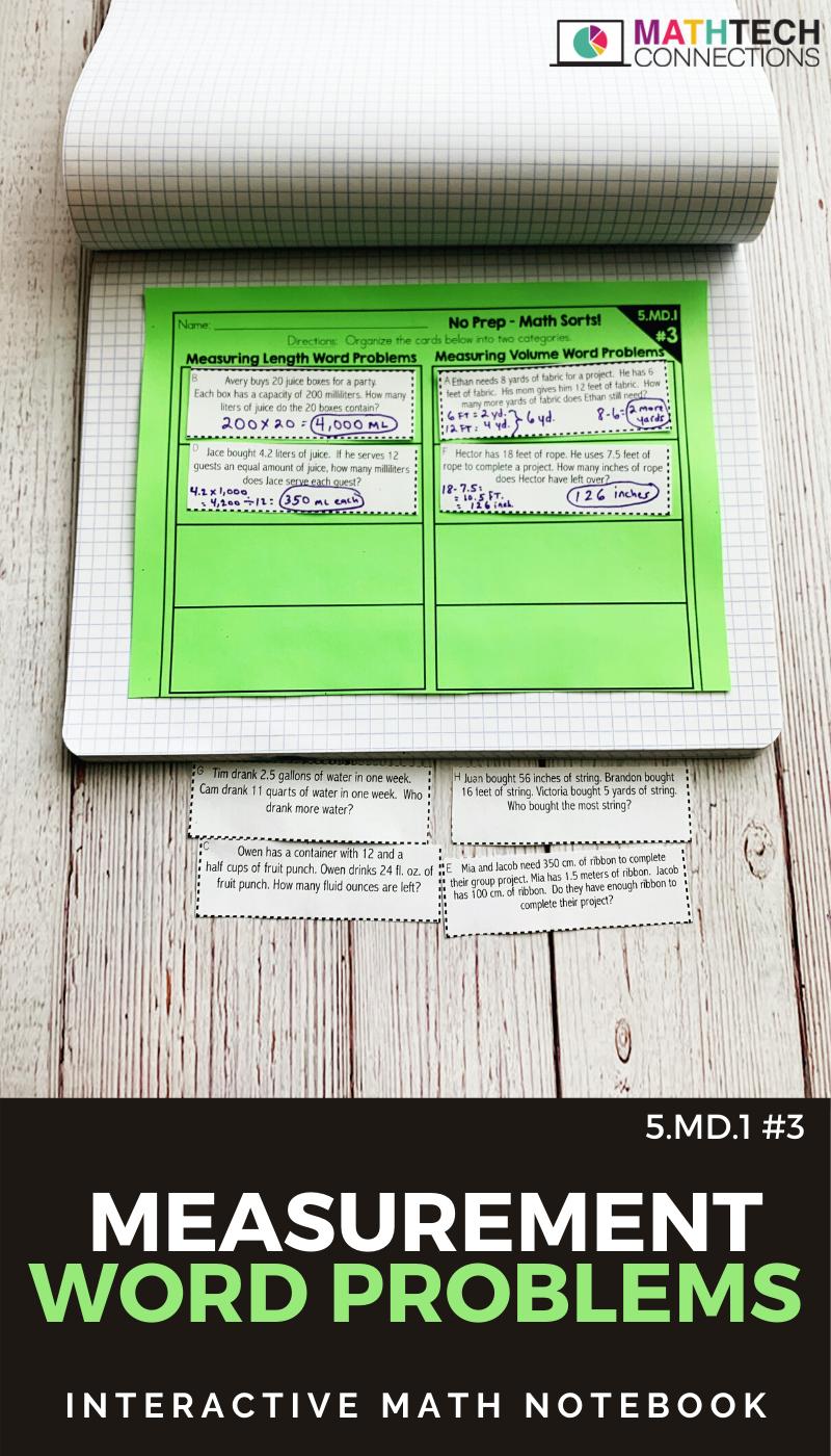 Measurement Word Problems Math Worksheet Math Interactive Notebook Math Sort Math Word Problems [ 1400 x 800 Pixel ]