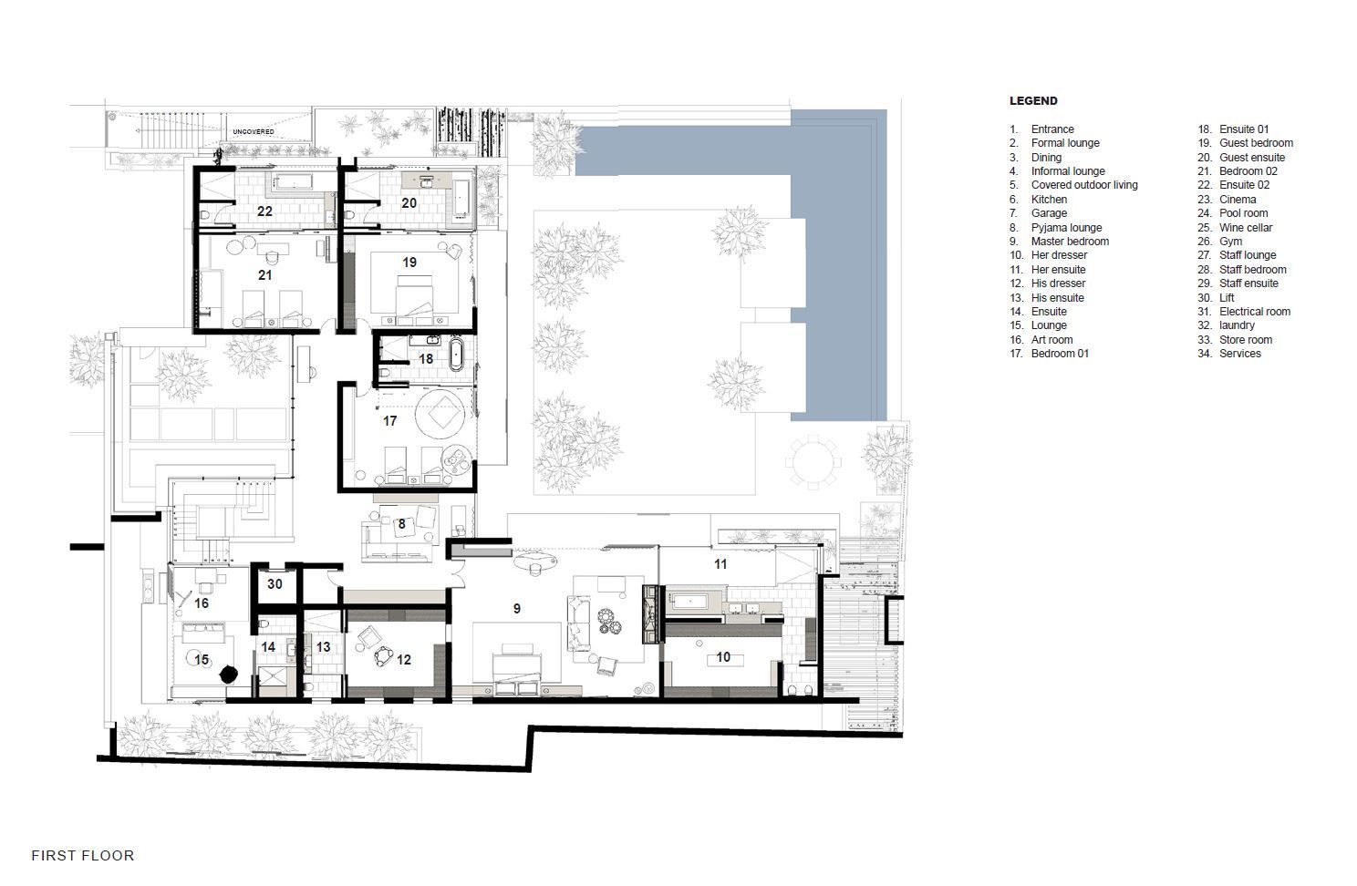 Gallery Of Hillside View Arrcc 19 House Plans Hillside House Large Floor Plans