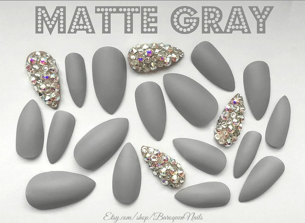 "Photo of Matte Gray Press On Nails Grey Gel Polish Bling Accent Nail Art ""Horizon"" Coffin Fake Nails 