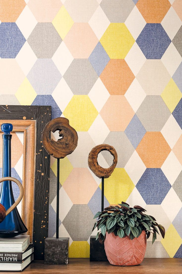 Bunte Sixties Retro Muster Wandtapete Mats