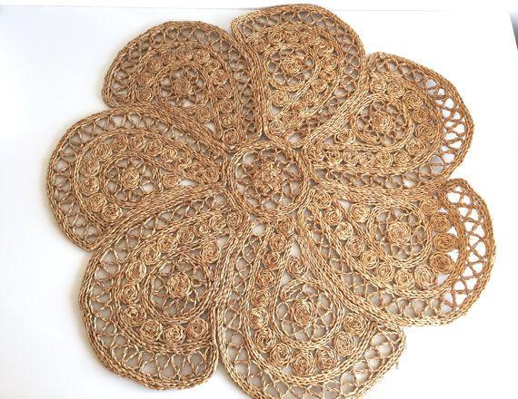 Jute Round Floor Mat / Vintage Woven Grass Doily Rug / Manadala Rug / Rope  Crochet