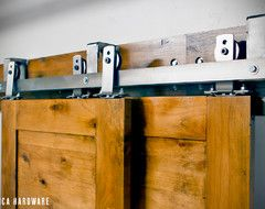 Overlapping barn doors track mounting kitchen dining room pinterest for Overlapping interior barn doors
