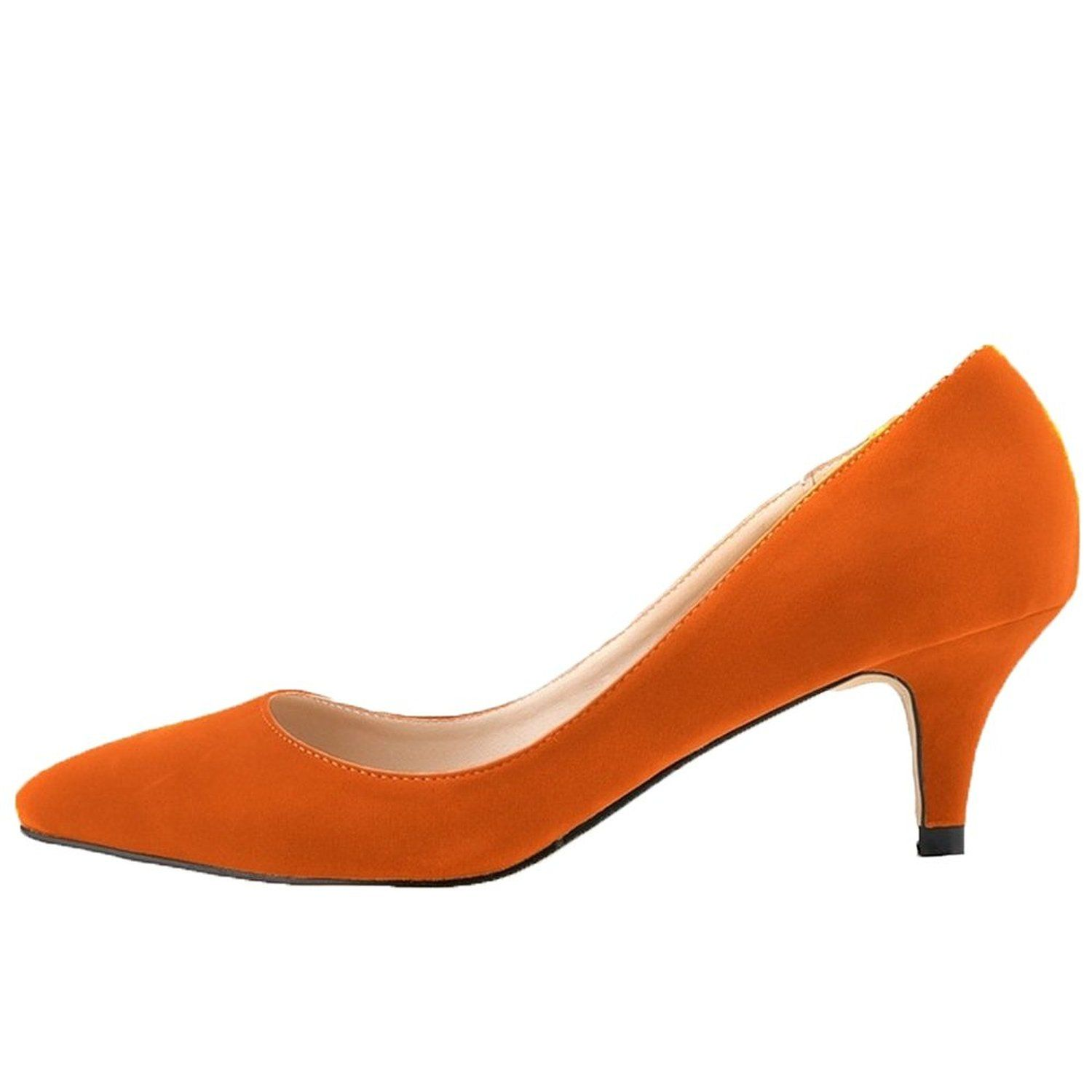 HooH Women's Pointed-toe Suede Slip Candy Color Kitten Work Pump: Amazon.co.uk: Shoes & Bags