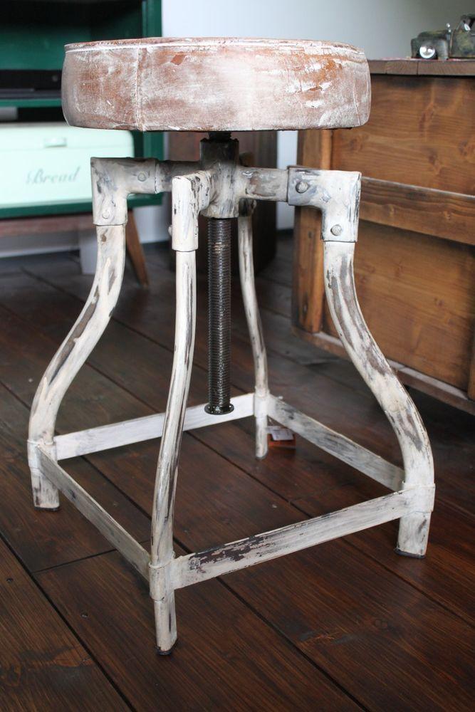 Industriehocker Barhocker Loft Fabrik Industrie Hocker Echtleder - küchentisch mit barhockern