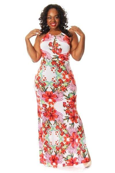 Plus Size Floral Print Keyhole Maxi Dress