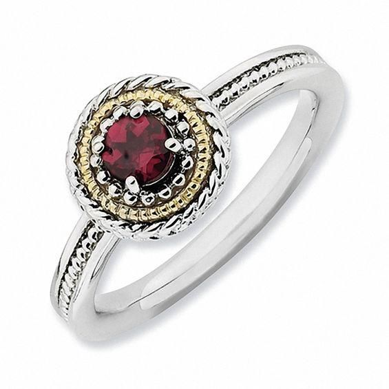 Zales Stackable Expressions Rope Framed Rhodolite Ring in Sterling Silver and 14K Gold Aq6SPH