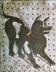 """Cave Canem """"Beware of Dog"""" Floor Mosaic from ancient Pompeii"""