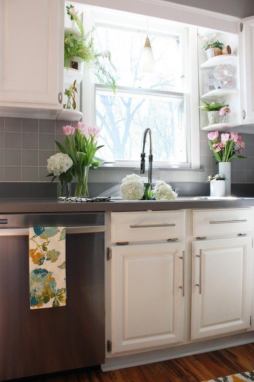 corner shelves between the windows and cupboards genius kitchenwindow kitchen sink window on kitchen sink ideas id=20981