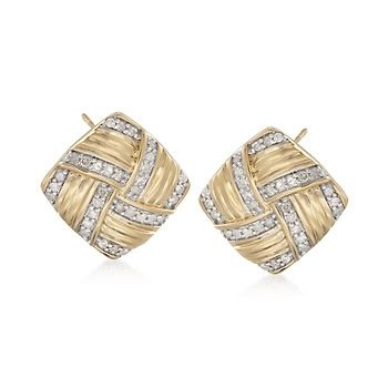 .76 ct. t.w. Diamond Basketweave Earrings in 18kt Yellow Gold Over Sterling