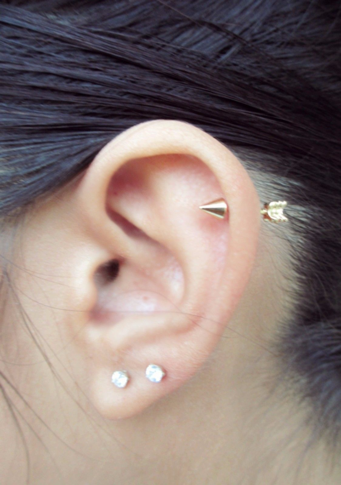 Nose piercing stud jewelry  Gold IP Arrow Cartilage Stud Body Piercing Earring G