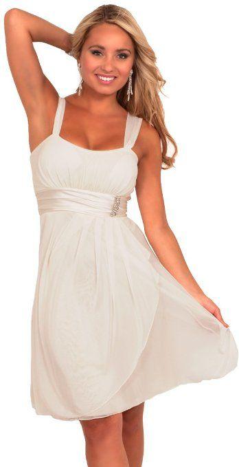 545329672ece Amazon.com: Hot from Hollywood Women's Sleeveless Rhinestone Empire Waist  Sheer Party Dress: Clothing