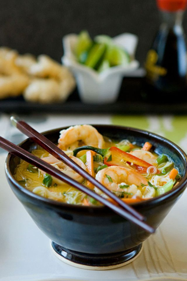 Asian Shrimp Noodle Soup from The Blue Jean Chef, Meredith Laurence. #Soup #SoupChowderandChiliRecipes