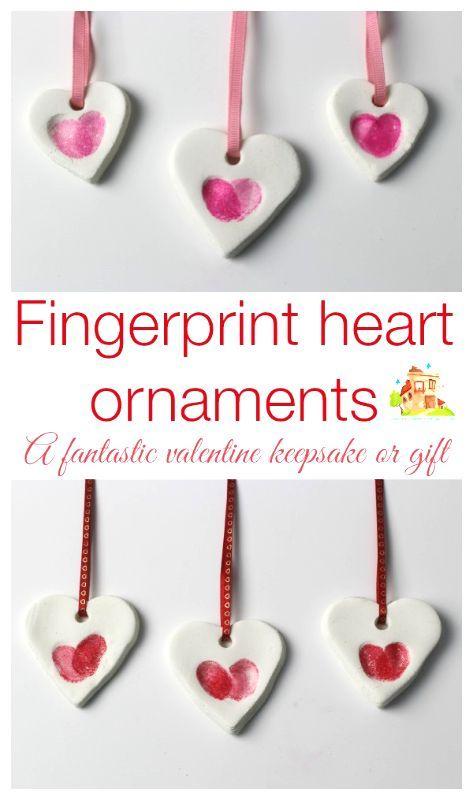 Fingerprint heart ornaments - Mum In The Madhouse