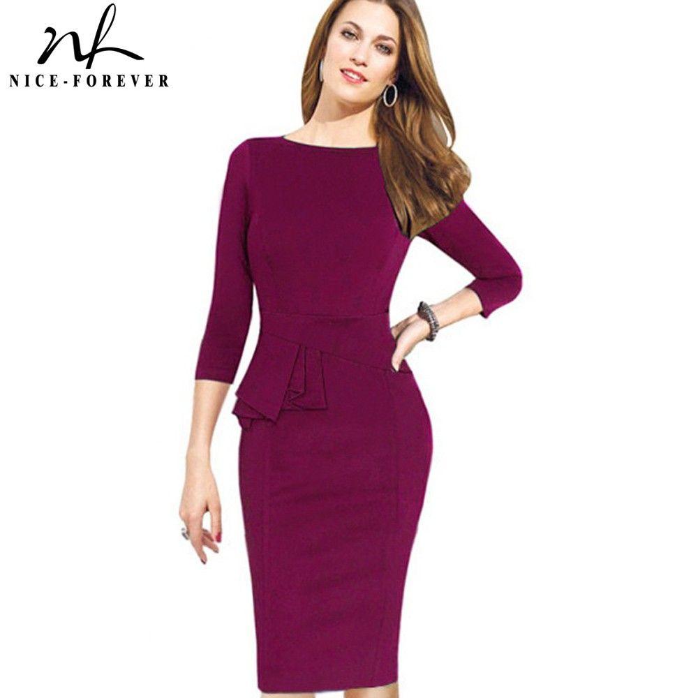 Nice-forever Career Female Peplum Work Dress 3/4 Sleeve O Neck Women ...