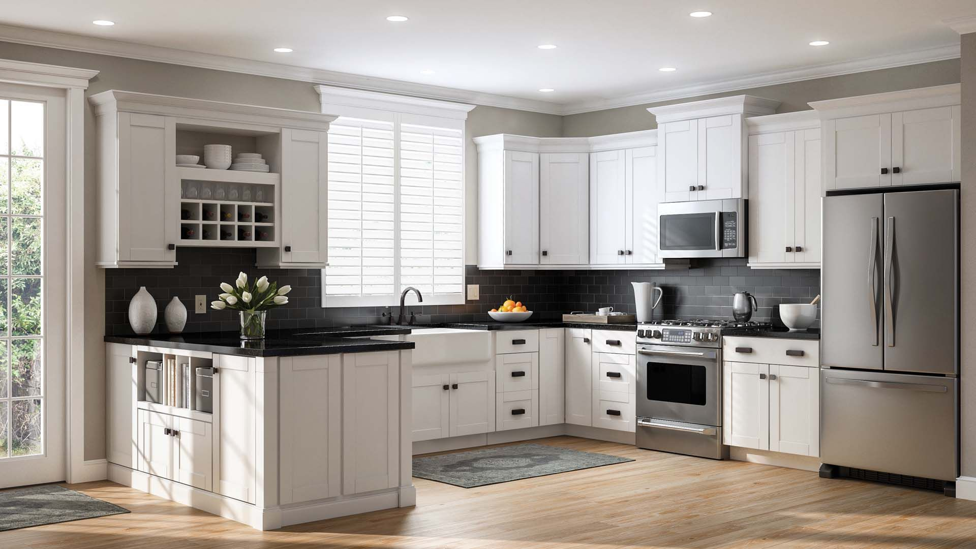 Shaker Wall Cabinets In White Kitchen The Home Depot White Shaker Kitchen White Shaker Kitchen Cabinets Kitchen Cabinet Styles