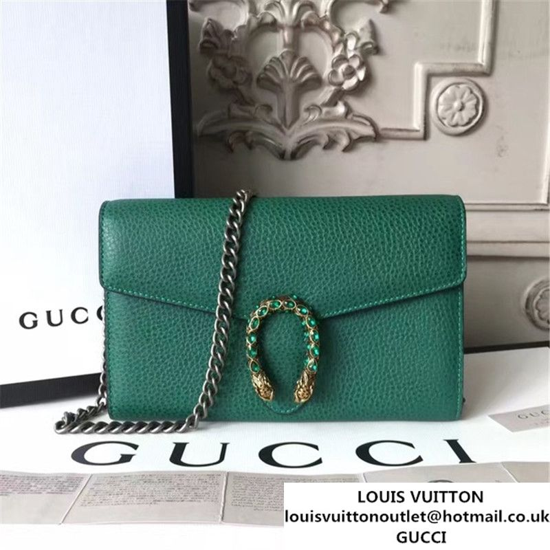 Gucci Crystal Dionysus Wallet On A Chain 20cm Shoulder Bag Spring Summer 2017 Collection Green