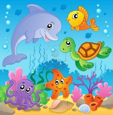Imagen Con El Tema Submarino 2 Ilustracion Vectorial Fondo De Mar Mar Animado Murales Escolares