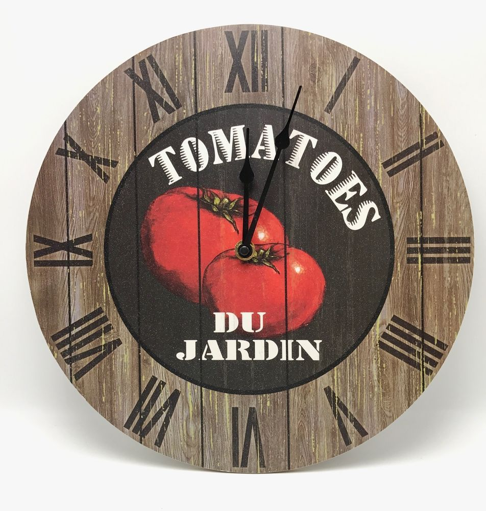 farm fresh wall clock tomatoes battery home kitchen new on wall clocks battery operated id=88679