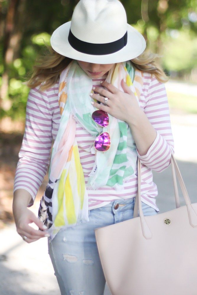 Stripes and floral, summer outfit ideas, preppy, pink, blush, straw hat outfit ideas.