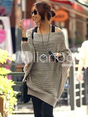 91eb433a8c I found  Popular Woolen Blend Batwing Sleeve Women s Sweater Dress  on  Wish