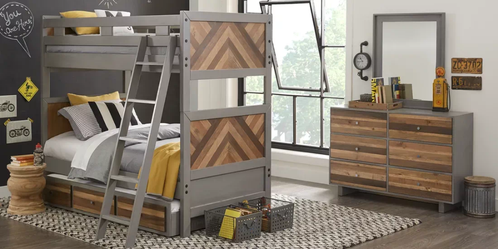 Moss Creek Jr Gray Twin Twin Bunk Bed Rooms To Go With Images