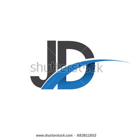 initial letter jd logotype company name colored blue and grey swoosh design vector logo for business and company identity lettering company names logotype initial letter jd logotype company name