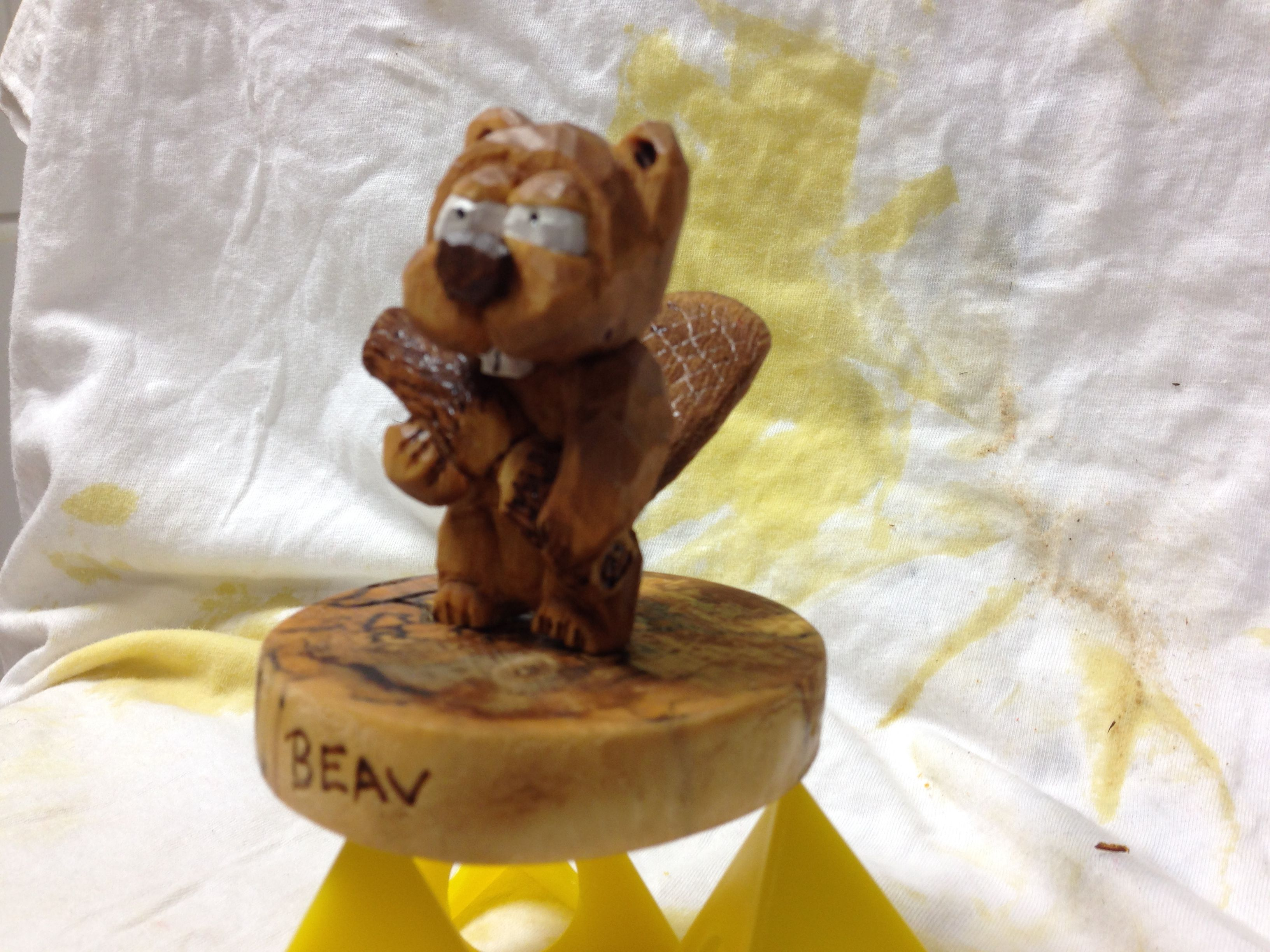 Small beaver figurine, basswood