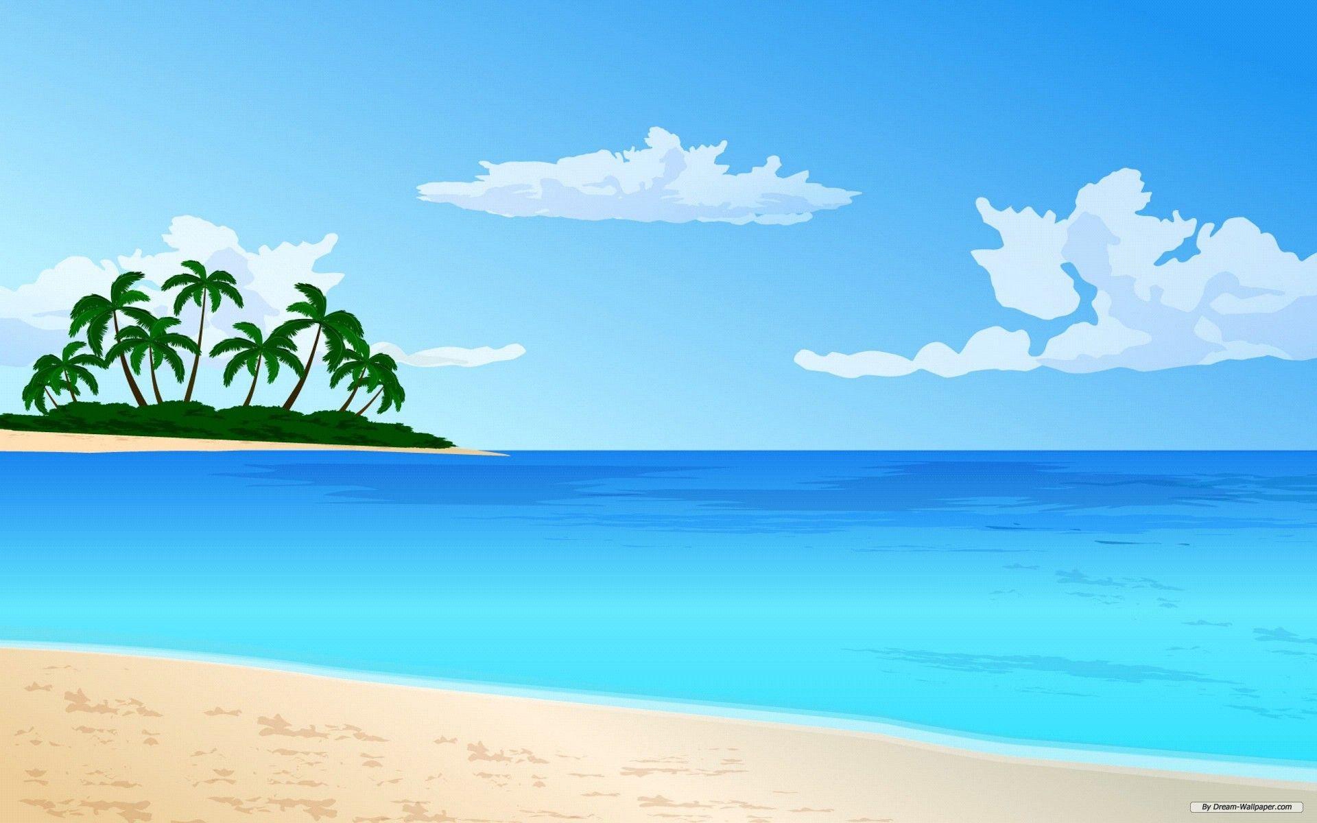 Cartoon clouds beach. Free wallpaper art vector