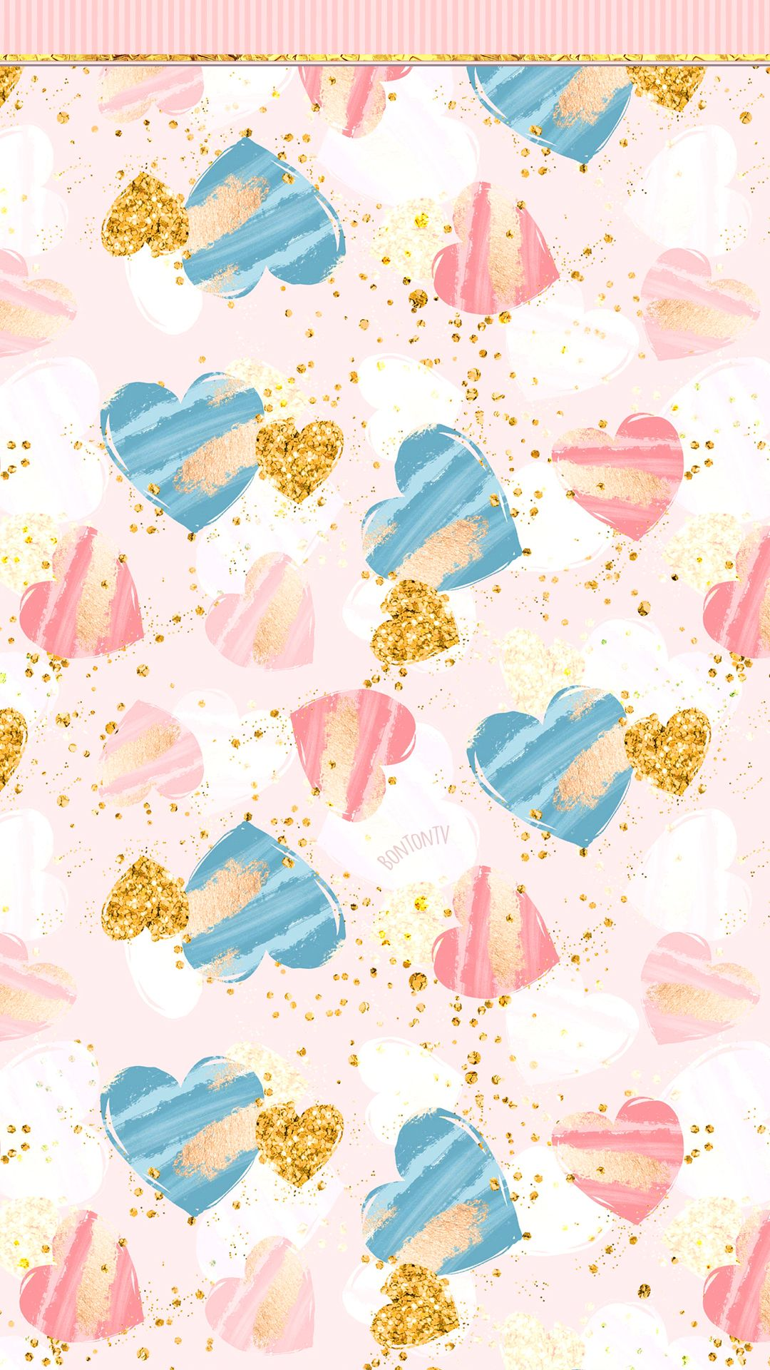 Phone Wallpapers Hd Cute Girly Pink Blue And Gold Hearts By