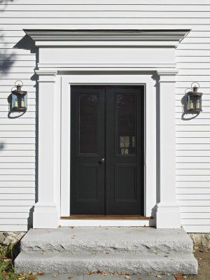 Black Front Door Front Entry Surround And Double Door
