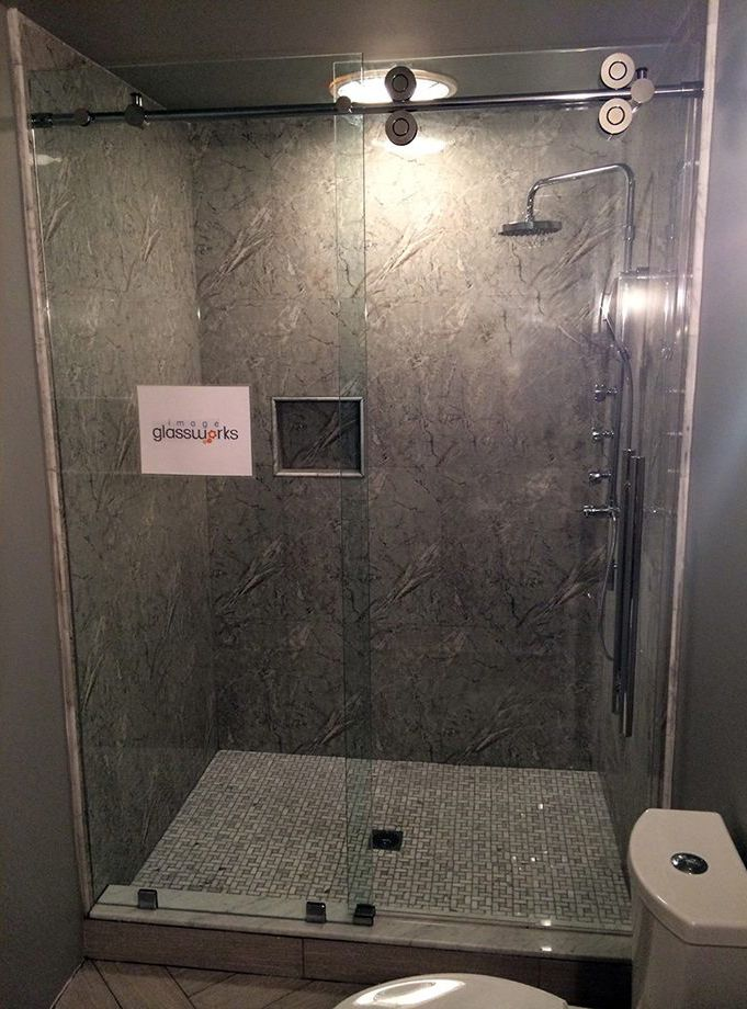 Sliding Frameless Shower Door System With Extra Large Empire Rollers, And  Oversized Ladder Pull Handle. #frameless #showerdoor #shower #chrome  #bathroom ...