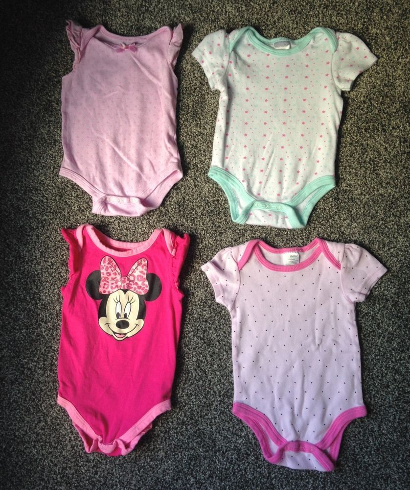 ae05421a9 Lot of 4 BABY GIRL BODYSUIT SNAPSUIT 3-6MONTHS Minnie Mouse Disney Mini  Muffin #Nannette #Everyday