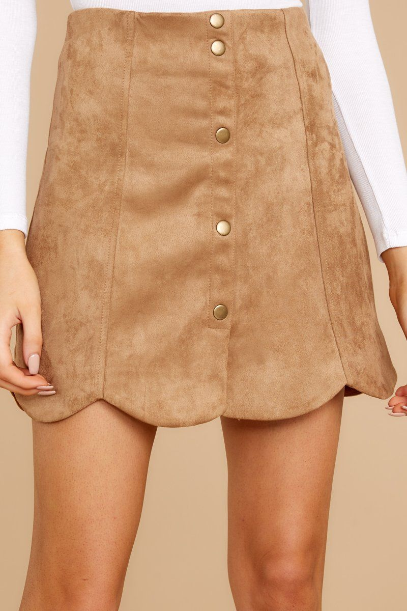 f7c9a3b0743 Flirty Brown Faux Suede Skirt - Trendy Scalloped Skirt - Bottoms -  36 –  Red Dress Boutique