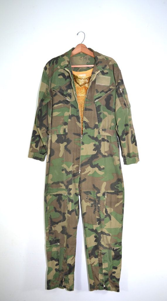Vintage Camo Jumpsuit Camo Coveralls Camo Flight Suit Army Mechanics ... f481e257a