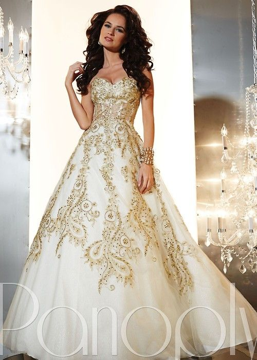 Gold Accented Ball Gown I Would Want It In Dark Blue And Gold Gold Wedding Gowns Gowns Ball Gowns Wedding