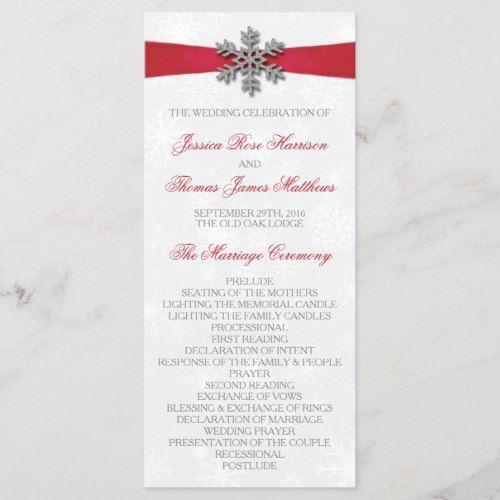 Diamante Snowflake & Red Ribbon Winter Wedding Program