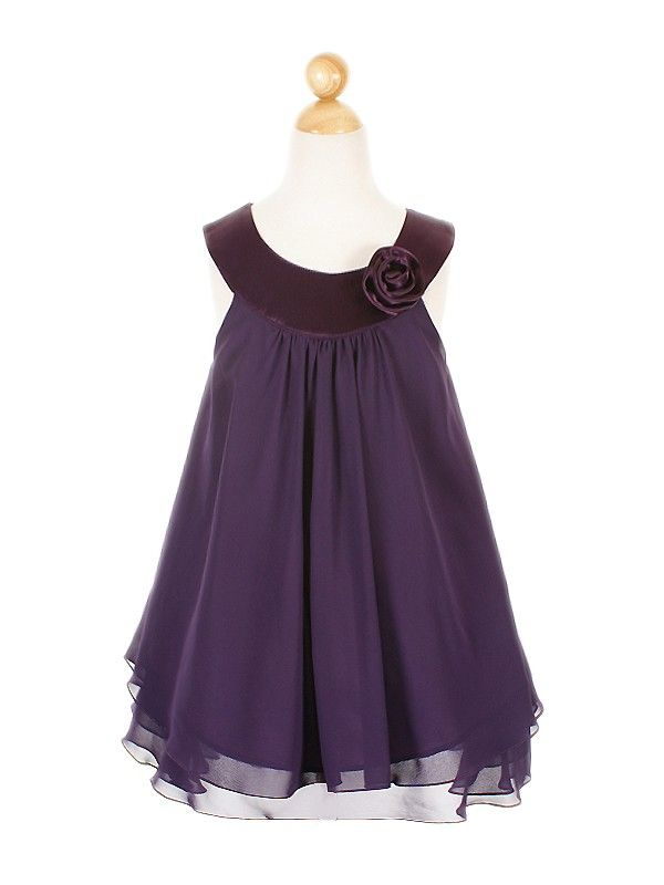 Details about Purple Chiffon Double Layered Flower Girl Dress size ...