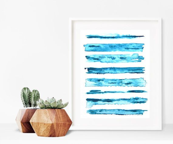 Indigo Blue Shibori Painting  Minimal Decor  by melissamaryjenkins