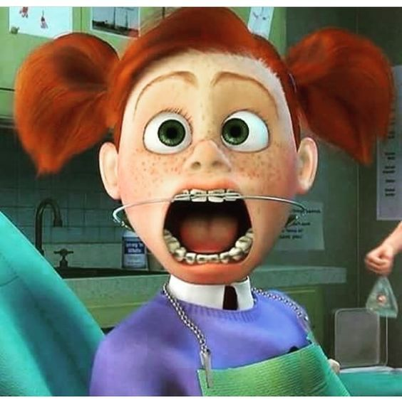 "Darla, from the movie ""Finding Nemo"", shows off her braces ..."