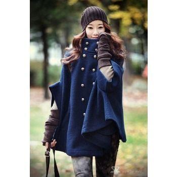 Damen Winter Jacke Zweireihig Fledermaus Wolle Ponchos Mantel Cape Parka 36 38 Blau