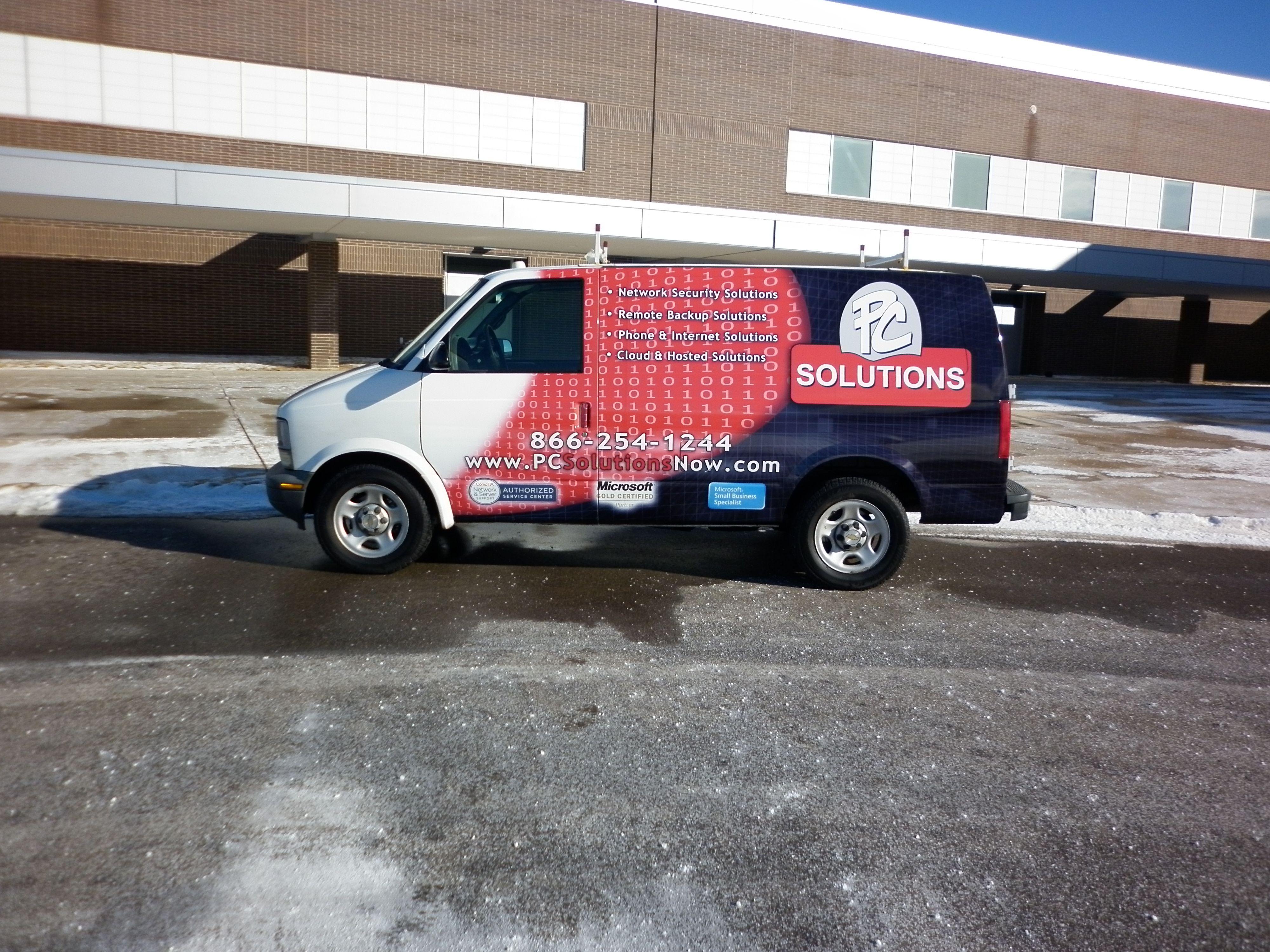 Pc Solutions Fleet Van Wrap By Steel Skinz Graphics Www Steelskinz Com Fleet Car Wrap Van Wrap